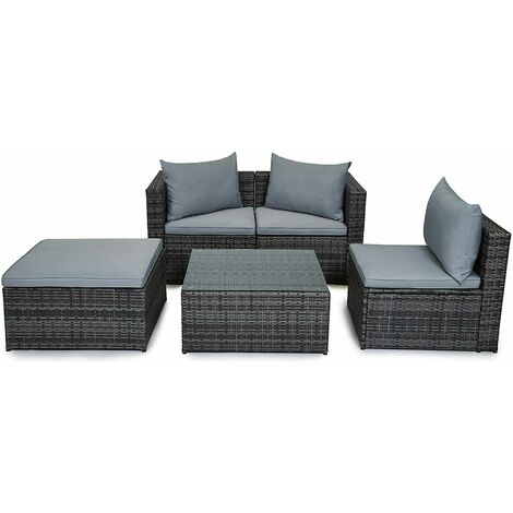 """main image of """"Evre Outdoor Rattan Garden Furniture Set Malaga Conservatory Patio Sofa coffee table Grey with cover"""""""