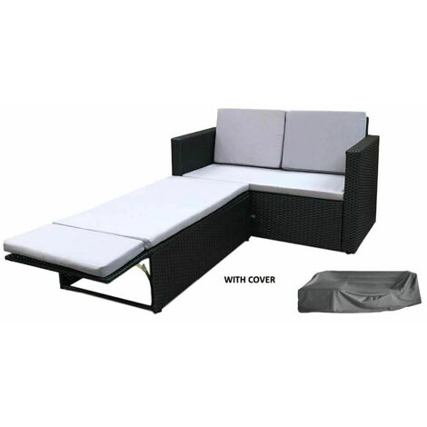 Evre Outdoor Rattan Garden Sofa Furniture Set Love Bed two seater Black with Cover - Black