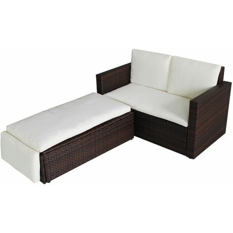 Evre Outdoor Rattan Garden Sofa Furniture Set Love Bed two seater - Brown