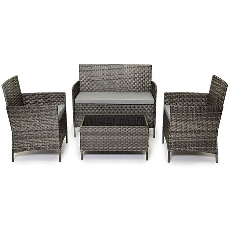 Evre Rattan Garden Furniture Set Patio Conservatory Indoor Outdoor 4 piece set table chair sofa (Grey)