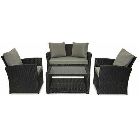 Evre Rattan Garden Furniture Weave Wicker Sofa Set Conservatory Set Black Roma - Black