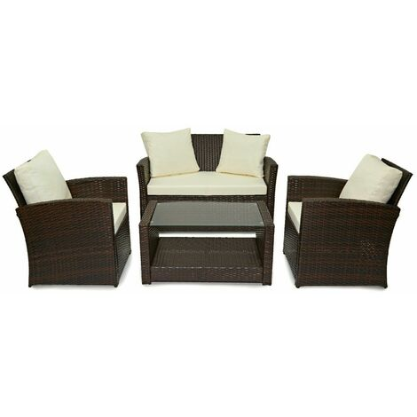 Evre Rattan Garden Furniture Weave Wicker Sofa Set Conservatory Set Brown Roma - Brown