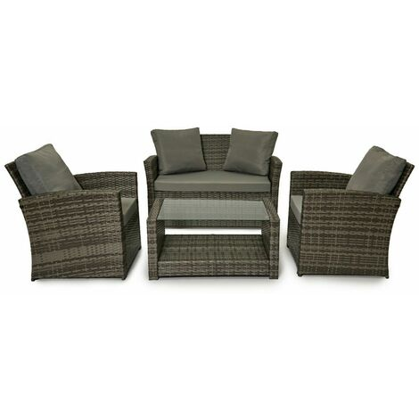 Evre Rattan Garden Furniture Weave Wicker Sofa Set Conservatory Set Grey Roma