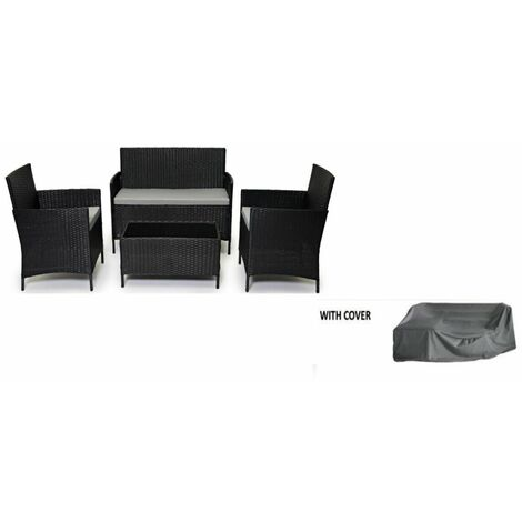 Evre Rattan Outdoor Garden Furniture Madrid Set Chairs Sofa Table Patio Conservatory Lounge - Black with Cover - Black