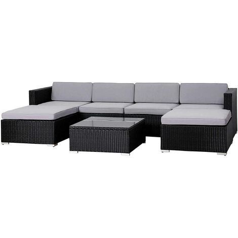 Evre Rattan Outdoor Garden Furniture Set 6 Seater Sofa with Coffee Table (Black) - Black