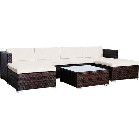 Evre Rattan Outdoor Garden Furniture Set 6 Seater Sofa with Coffee Table (Brown) - Brown