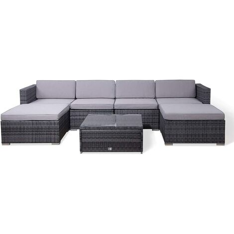 Evre Rattan Outdoor Garden Furniture Set 6 Seater Sofa with Coffee Table (Grey)