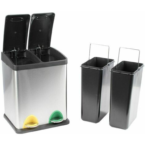Evre Recycling Bin with Lids for Kitchen / 16 Litre Capacity / 2 Compartments Waste Separation (16L (8L+8L))