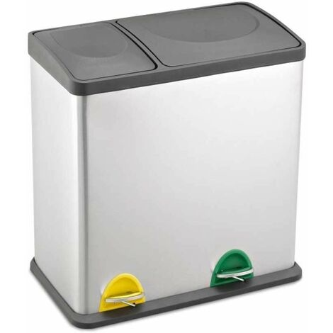 Evre Recycling Bin with Lids for Kitchen / 36 Litre Capacity / 2 Compartments Waste Separation (35L (12L+24L))