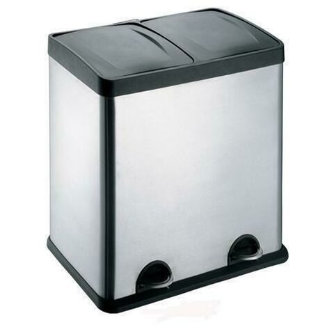 Evre Recycling Bin with Lids for Kitchens / 48 Litre Capacity / 2 Compartments Waste Separation (48L)