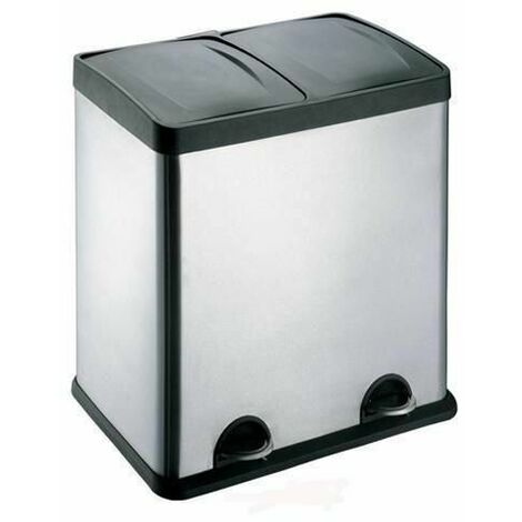 Evre Recycling Bin with Lids for Kitchens / 60 Litre Capacity / 2 Compartments Waste Separation (60L)
