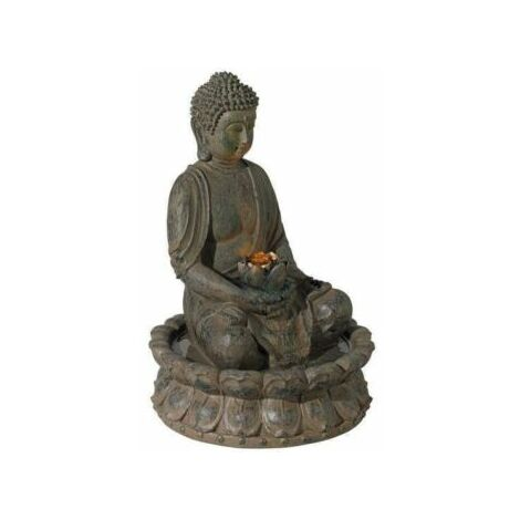 Evre Sitting Buddha Water Feature Decoration with LED Light - Bronze 40cm