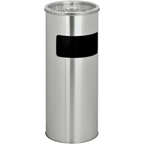 Evre Stainless Steel Outdoor Indoor Litter Bin with Ashtray Cigarette Bin 30L Silver
