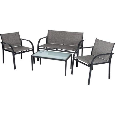 EVRE Valencia Outdoor Garden Furniture Set Patio Conservatory 4 piece set table chair sofa (Grey)