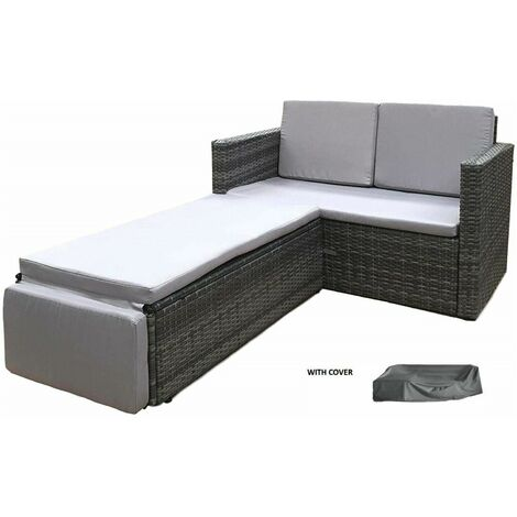 EvreRattan Outdoor Garden Sofa Furniture Love Bed Patio Sun bed 2 seater Grey New with Cover - GREY
