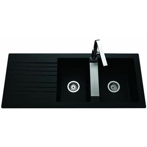 EWI Evier Soledad 116x50cm 2 bacs 1 égouttoir noir