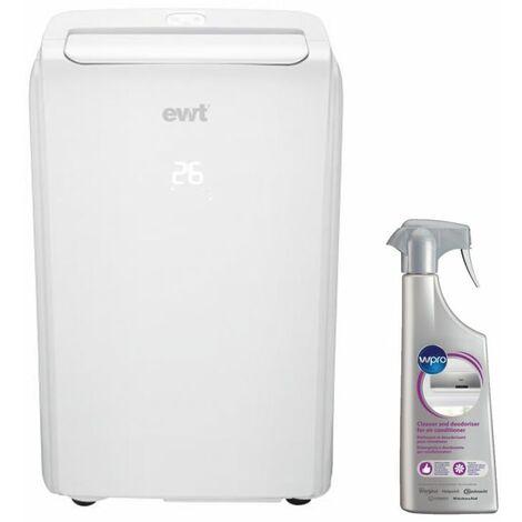 EWT Climatiseur mobile monobloc non réversible 2600W 9000 BTU/h pour surface 25m2 - Blanc