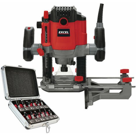 """Excel 1/2"""" Electric Plunge Router Variable Speed 240V with 12 Piece Cutter Set"""