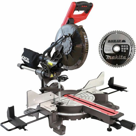 "Excel 10"" Compound Sliding Mitre Saw 255MM 2000w Double Bevel Laser Cut Extra 60T Blade"