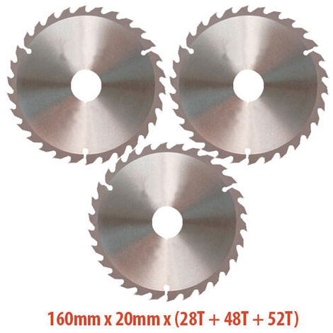 """main image of """"Excel 160mm x 20mm TCT Circular Saw Blades for Wood 28T + 48T + 52T"""""""