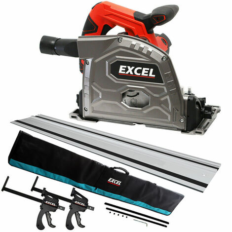 Excel 165mm Plunge Saw 240V with 1 x Guide Rail & Connector Clamp + Rail Bag