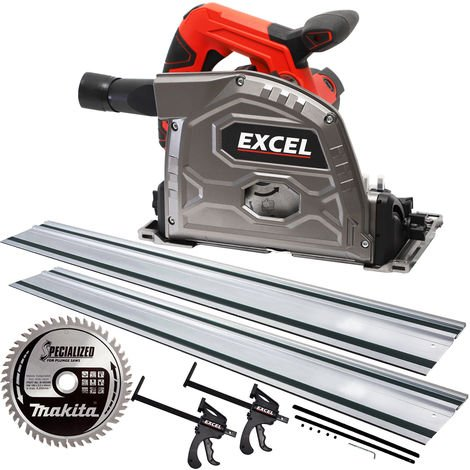 Excel 165mm Plunge Saw 240V with 2 x Guide Rail Connector Clamp + Extra 1 x Makita Blade