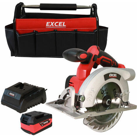 Excel 18V Circular Saw 165mm with 1 x 5.0Ah Battery Charger & Tote Bag EXL511B:18V