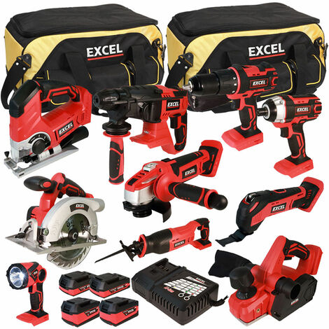 Excel 18V Cordless 10 Piece Tool Kit with 4 Batteries & Charger in Bag EXL5059:18V