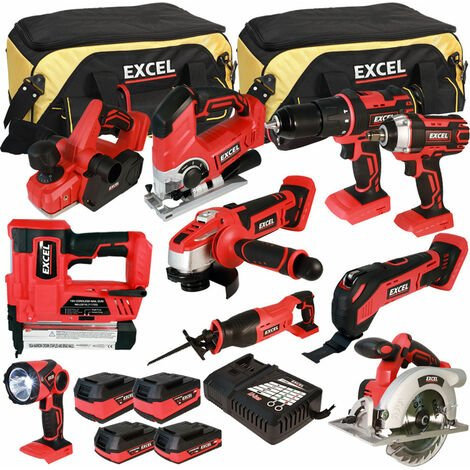 Excel 18V Cordless 10 Piece Tool Kit with 4 Batteries & Charger in Bag EXL5065:18V
