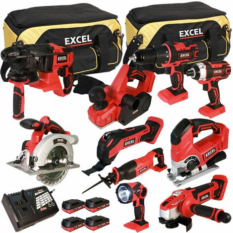 Excel 18V Cordless 10 Piece Tool Kit with 4 x 2.0Ah Batteries & Smart Charger in Bag EXL5151:18V