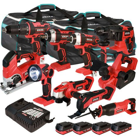 Excel 18V Cordless 10 Piece Tool Kit with 4 x 2.0Ah Batteries & Smart Charger in Bag EXL5215 :18V