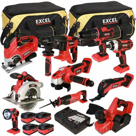 Excel 18V Cordless 10 Piece Tool Kit with 4 x 5.0Ah Batteries & Charger in Bag EXL5060:18V