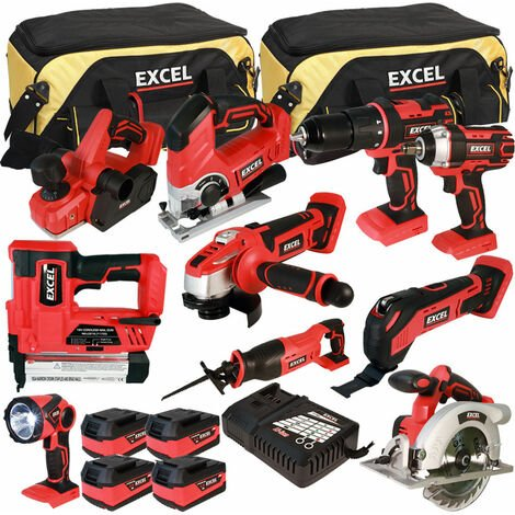 Excel 18V Cordless 10 Piece Tool Kit with 4 x 5.0Ah Batteries & Charger in Bag EXL5066:18V