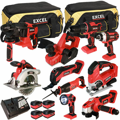 Excel 18V Cordless 10 Piece Tool Kit with 4 x 5.0Ah Batteries & Smart Charger in Bag EXL5150:18V
