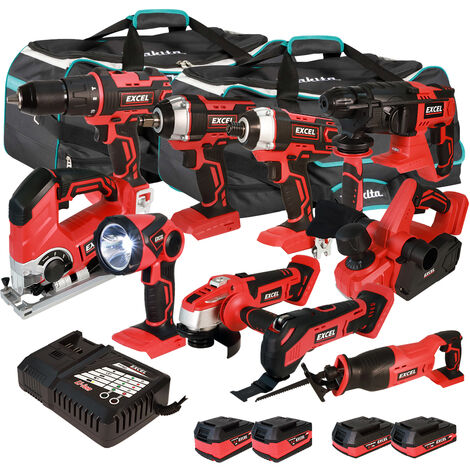 Excel 18V Cordless 10 Piece Tool Kit with 4 x Batteries & Smart Charger in Bag EXL5213 :18V