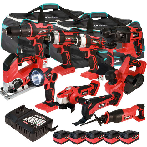 Excel 18V Cordless 10 Piece Tool Kit with 5 x 5.0Ah Batteries & Smart Charger in Bag EXL5211:18V