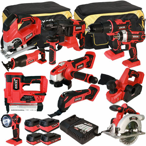 Excel 18V Cordless 11 Piece Tool Kit with 4 Batteries & Charger in Bag EXL5063:18V