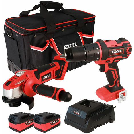 Excel 18V Cordless 2 Piece Tool Kit with 2 x 5.0Ah Batteries & Charger in Bag EXL5071:18V