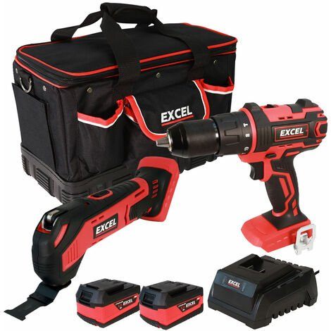 Excel 18V Cordless 2 Piece Tool Kit with 2 x 5.0Ah Batteries & Charger in Bag EXL5073:18V