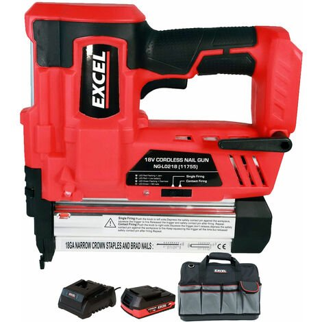 Excel 18V Cordless 2nd Fix Nailer with 1 x 2.0Ah Battery Charger & Bag EXL592B:18V