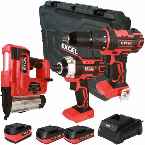 Excel 18V Cordless 3 Piece Tool Kit with 3 x Batteries & Charger in Case EXL5139:18V