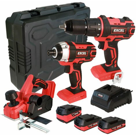 Excel 18V Cordless 3 Piece Tool Kit with 3 x Batteries & Charger in Case EXL5140:18V