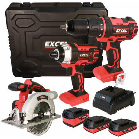 Excel 18V Cordless 3 Piece Tool Kit with 3 x Batteries & Charger in Case EXL5141:18V