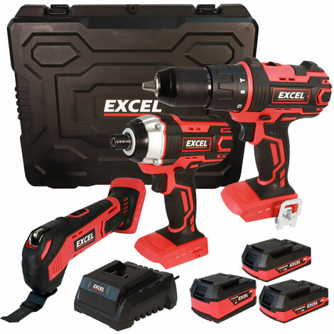 Excel 18V Cordless 3 Piece Tool Kit with 3 x Batteries & Charger in Case EXL5143:18V