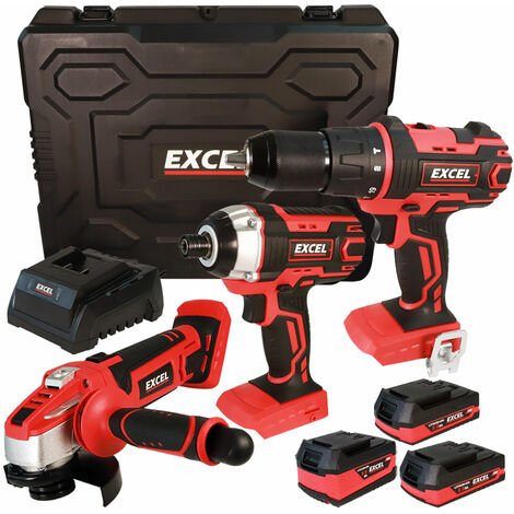 Excel 18V Cordless 3 Piece Tool Kit with 3 x Batteries & Charger in Case EXL5144:18V