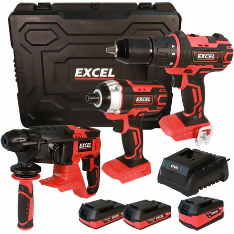 Excel 18V Cordless 3 Piece Tool Kit with 3 x Batteries & Charger in Case EXL5145:18V
