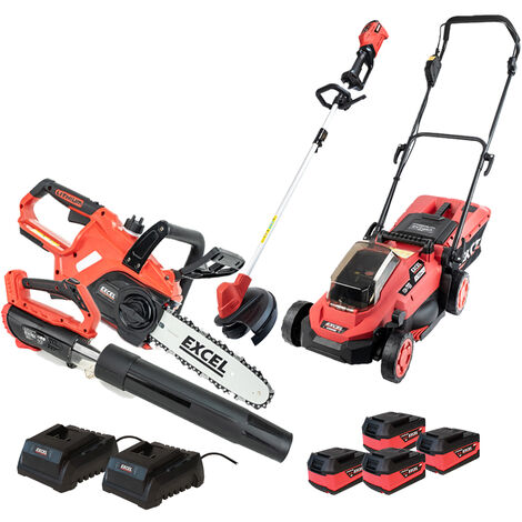 Excel 18V Cordless 4 Piece Gardening Power Tool Kit with 4 x 5.0Ah Battery & 2 x Charger:18V