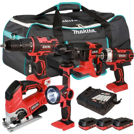 Excel 18V Cordless 5 Piece Tool Kit with 3 x 2.0Ah Batteries & Twin Port Charger EXL5230:18V