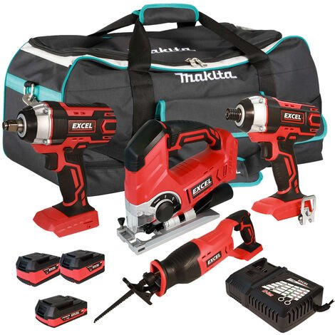 Excel 18V Cordless 5 Piece Tool Kit with 3 x Batteries & Smart Charger in Bag EXL5233 :18V