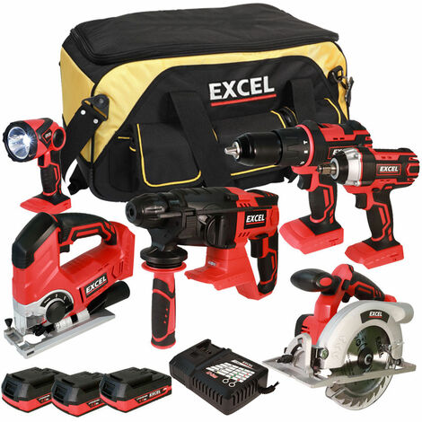 Excel 18V Cordless 6 Piece Tool Kit with 3 x 2.0Ah Batteries & Twin Port Charger EXL5069:18V